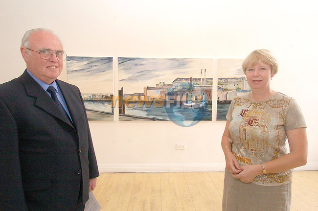 Mat Nolan Chairperson of Drogheda Port Company with Artist Ann Mullen at the Unvaling of Drogheda Port Companys Art for 2004..Photo Fran Caffrey Newsfile.ie..This Picture has been sent to you by Newsfile Ltd..The Studio,.Millmount Abbey,.Drogheda,.Co. Meath,.Ireland..Tel: +353(0)41-9871240.Fax: +353(0)41-9871260.ISDN: +353(0)41-9871010.www.newsfile.ie..general email: pictures@newsfile.ie