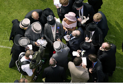 Journalists question trainer Roger Charlton after the Coventry Stakes, Royal Ascot 030617 Photo: Neil Tingle/Action Plus...2003 horse racing flat media trainers interview