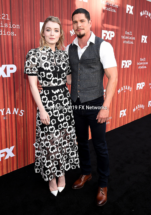"""HOLLYWOOD - MAY 29: Sarah Bolger and JD Pardo attend the FYC event for FX's """"Mayans M.C."""" at Neuehouse Hollywood on May 29, 2019 in Hollywood, California. (Photo by Frank Micelotta/FX/PictureGroup)"""