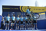 Vittorio Brumotti with Astana Pro Team at sign on before the start of Stage 1 The Nakheel Stage of the Dubai Tour 2018 the Dubai Tour&rsquo;s 5th edition, running 167km from Skydive Dubai to Palm Jumeirah, Dubai, United Arab Emirates. 6th February 2018.<br /> Picture: LaPresse/Fabio Ferrari | Cyclefile<br /> <br /> <br /> All photos usage must carry mandatory copyright credit (&copy; Cyclefile | LaPresse/Fabio Ferrari)