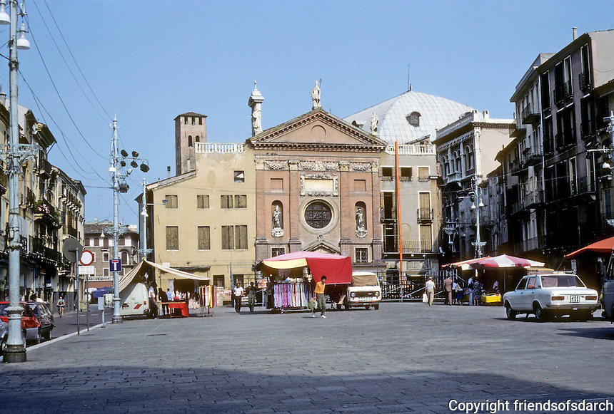 Italy: Padua--Looking east across the Piazza Dei Signori from near teh Palazzo Del Capitano. Behind the church are the Law Courts. Photo '83.