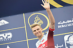 Marcel Kittel (GER) Team Katusha Alpecin at sign on before the start of Stage 4 The Municipality Stage of the Dubai Tour 2018 the Dubai Tour&rsquo;s 5th edition, running 172km from Skydive Dubai to Hatta Dam, Dubai, United Arab Emirates. 9th February 2018.<br /> Picture: LaPresse/Fabio Ferrari | Cyclefile<br /> <br /> <br /> All photos usage must carry mandatory copyright credit (&copy; Cyclefile | LaPresse/Fabio Ferrari)