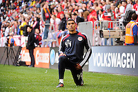 Victor Palsson (44) of the New York Red Bulls. The New York Red Bulls defeated the Colorado Rapids 4-1 during a Major League Soccer (MLS) match at Red Bull Arena in Harrison, NJ, on March 25, 2012.