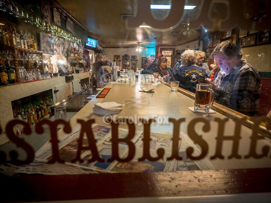 Bar through the window at the Martin Hotel, Winnemucca