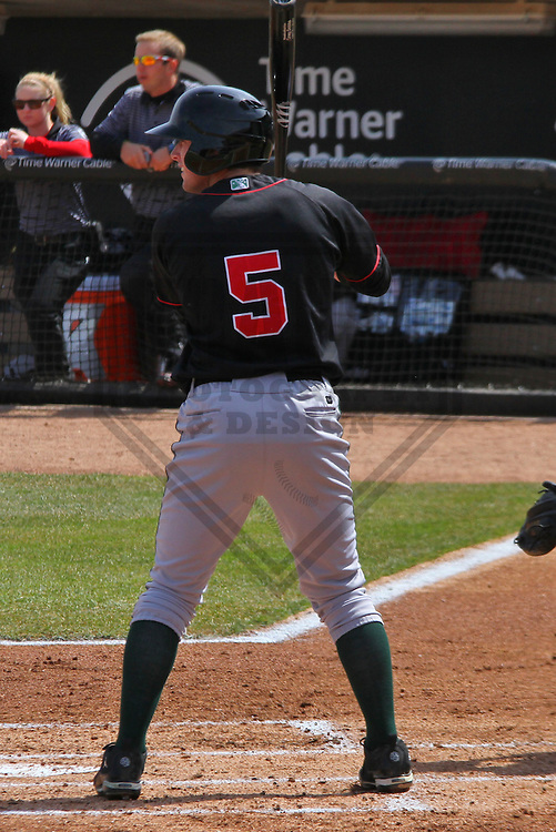 GRAND CHUTE - April 2014: Dillon Moyer (5) of the Great Lakes Loons during a game against the Wisconsin Timber Rattlers on April 19th, 2014 at Fox Cities Stadium in Grand Chute, Wisconsin.  (Photo Credit: Brad Krause)