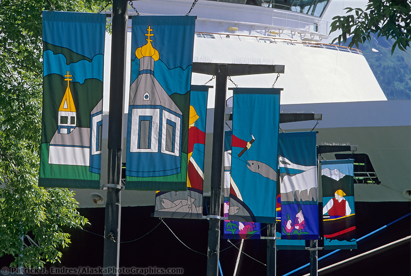 Decorative banners line the streets of downtown Juneau, Alaska.