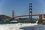San Francisco: Baker Beach with Golden Gate Bridge in background.  Photo # 2-casanf83341.  Photo copyright Lee Foster