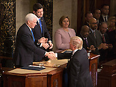 United States President Donald J. Trump greets Vice President Mike Pence(left) and speaker of The House of Representatives after addressing a joint session of Congress on Capitol Hill in Washington, DC, February 28, 2017. <br /> Credit: Chris Kleponis / CNP