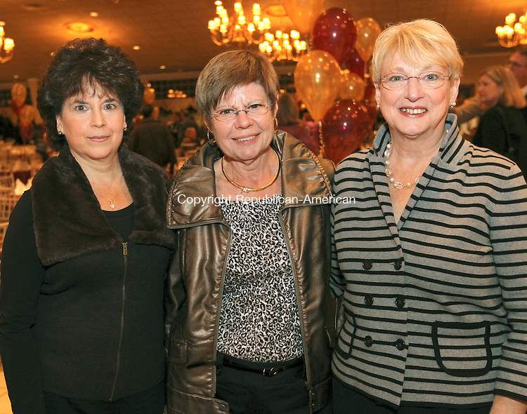 Southington, CT-07 November 2011-110711CM06-  SOCIAL MOMENTS: Sacred Heart High School Alumni dinner at the Aqua Turf in Southington, L-R, Sacred Heart Staff, Sharon Gugliotti, Sally Armor and Debbie Nugai.     Christopher Massa Republican-American