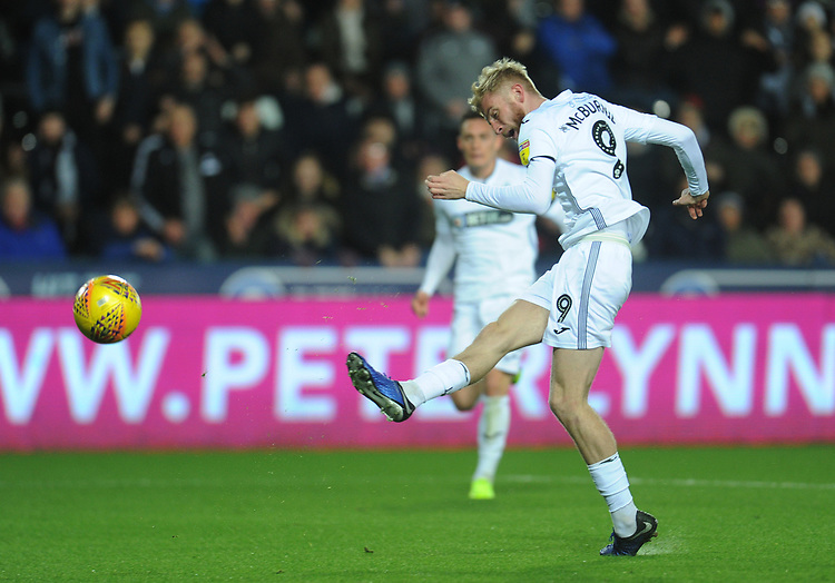 Swansea City's Oli McBurnie scores the opening goal <br /> <br /> Photographer Kevin Barnes/CameraSport<br /> <br /> The EFL Sky Bet Championship - Swansea City v West Bromwich Albion - Wednesday 28th November 2018 - Liberty Stadium - Swansea<br /> <br /> World Copyright &copy; 2018 CameraSport. All rights reserved. 43 Linden Ave. Countesthorpe. Leicester. England. LE8 5PG - Tel: +44 (0) 116 277 4147 - admin@camerasport.com - www.camerasport.com