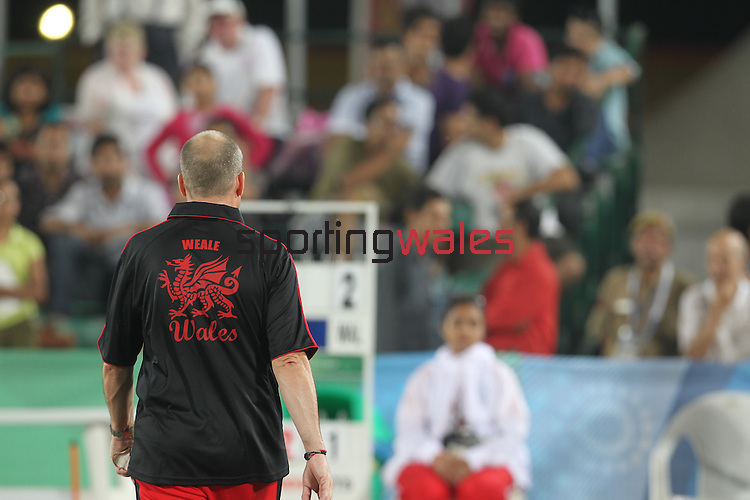 Delhi 2010 Commonwealth Games..Rob Weale (Wales) in action against Australian Leif Selby on his way to the the Gold medal in the final of the Mens singles .13.10.10.Photo Credit-Steve Pope-Sportingwales
