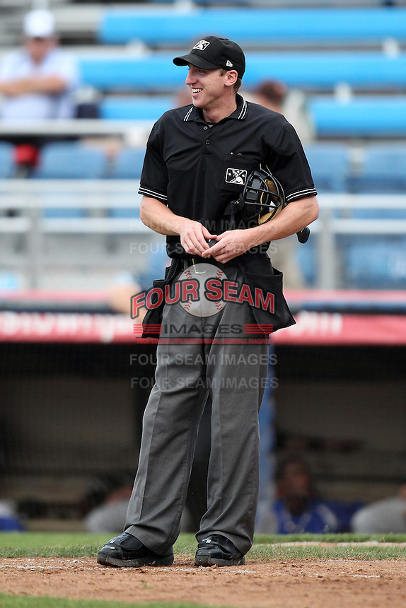 Home plate umpire Alex Tosi during a game between the Jamestown Jammers and Aberdeen Ironbirds at Russell Diethrick Park on July 27, 2011 in Jamestown, New York.  Jamestown defeated Aberdeen 8-3.  (Mike Janes/Four Seam Images)