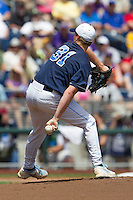 North Carolina pitcher Trent Thornton (31) hides the ball during his windup against the Louisiana State Tigers during Game 7 of the 2013 Men's College World Series on June 18, 2013 at TD Ameritrade Park in Omaha, Nebraska. The Tar Heels defeated the Tigers 4-2, eliminating LSU from the tournament. (Andrew Woolley/Four Seam Images)