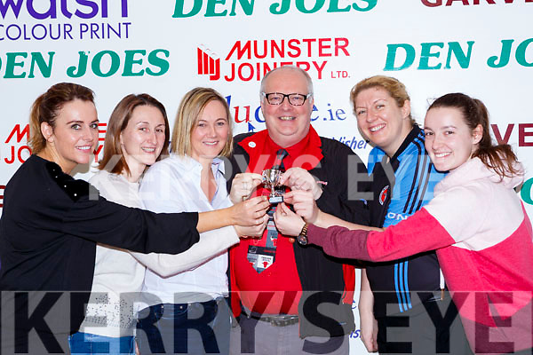 The Toppers team being presented their Div 3 Ladies cup after they defeated Desmonds Ladies in the final at the St Marys Basketball Blitz on Saturday l-r: Marion O'Connor, Mary Nolan, Sandra O'Connor, Gerard Murphy, Reidin O'Loughlin and Aine O'Connor