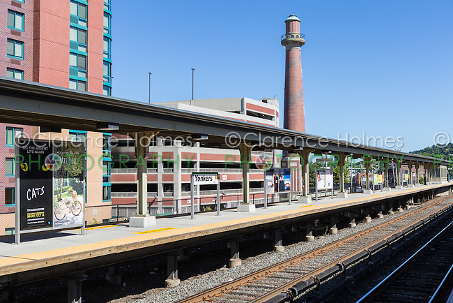 A Metro-North Hudson Line platform and tracks in the station in Yonkers, New York.