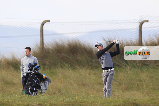 Stuart Grehan (Tullamore) on the 2nd during Round 1 of the Flogas Irish Amateur Open Championship at Royal Dublin on Thursday 5th May 2016.<br /> Picture:  Thos Caffrey / www.golffile.ie