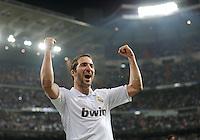 FUSSBALL   CHAMPIONS LEAGUE   SAISON 2011/2012  Achtelfinale Rueckspiel 14.03.2012 Real Madrid  - ZSKA Moskau  JUBEL Real Madrid; Torschuetze zum 1-0 Gonzalo Higuain