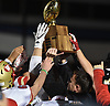 Half Hollow Hills West celebrates after the team's 34-6 win over Plainedge in the Class III Long Island Championship at Shuart Stadium in Hempstead on Saturday, Nov. 24, 2018.