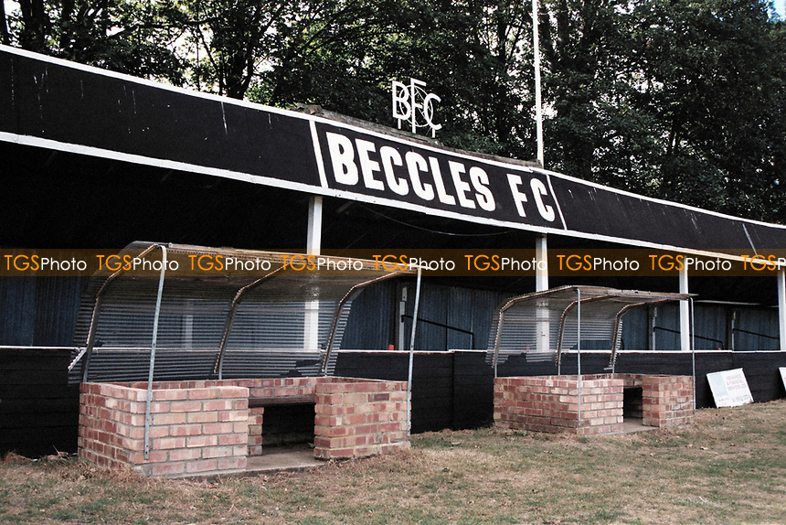 The main stand at Beccles Town FC Football Ground, College Meadow, Beccles, Suffolk, pictured on 29th August 1995