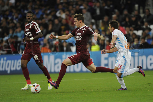 16.10.2016. Marseille, France. French league 1 football. Olympique Marseille versus Metz.  Lejeune (Metz) takes a shot on goal