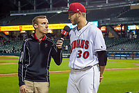 Dovydas Neverauskas (30) of the Indianapolis Indians is interviewed after the game at Victory Field on May 14, 2019 in Indianapolis, Indiana. The Indians defeated the RailRiders 4-2. (Andrew Woolley/Four Seam Images)