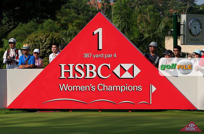 The 1st tee during Round 3 of the HSBC Women's Champions at the Sentosa Golf Club, The Serapong Course in Singapore on Saturday 7th March 2015.<br /> Picture:  Thos Caffrey / www.golffile.ie