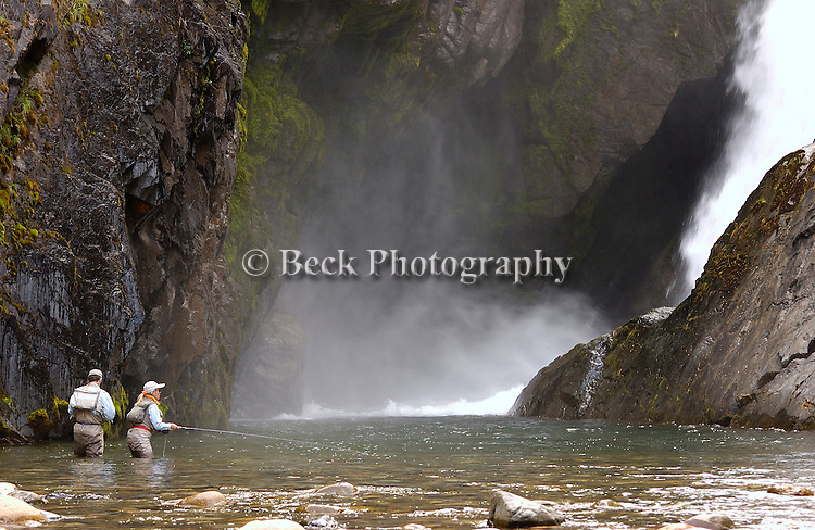 Fly fishing No Name River Chile