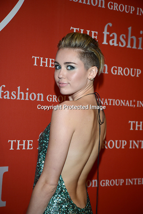 Miley Cyrus attends the Fashion Group International's Night of Stars Gala on October 22, 2013 at Cipriani Wall Street in New York City.