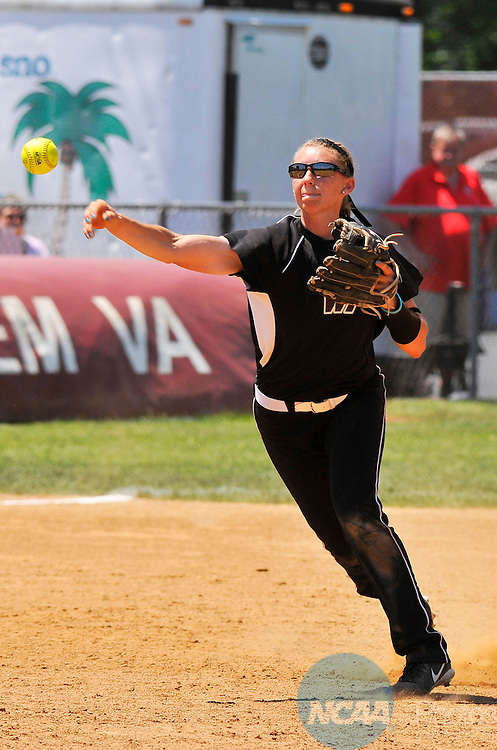 26 MAY 2014: Shortstop Alyssa Lemos (3) of West Texas A&M throws out a runner at first during the Division II Women's Softball Championship held at the Moyer Sports Complex in Salem, VA.  West Texas defeated Valdosta State 3-2 for the national title.  Andres Alonso/NCAA Photos