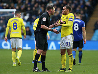 Referee James Linington has a word with Blackburn Rovers' Elliott Bennett after an aerial challenge<br /> <br /> Photographer David Shipman/CameraSport<br /> <br /> The EFL Sky Bet Championship - Sheffield Wednesday v Blackburn Rovers - Saturday 16th March 2019 - Hillsborough - Sheffield<br /> <br /> World Copyright &copy; 2019 CameraSport. All rights reserved. 43 Linden Ave. Countesthorpe. Leicester. England. LE8 5PG - Tel: +44 (0) 116 277 4147 - admin@camerasport.com - www.camerasport.com