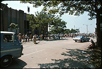 Roosevelt Stadium, the old Ball Park, on the left. Our van on the far left. The crowd mingling and the parking lot in the distance as we proceed into the Grateful Dead Concert on 4 August 1976.