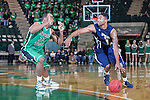 North Texas Mean Green guard Roger Franklin (32) and Jackson State Tigers guard Keeslee Stewart (11) in action during the game between the Jackson State Tigers and the North Texas Mean Green at the Super Pit arena in Denton, Texas. UNT defeats Jackson State 83 to 65...