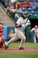 Corpus Christi Hooks first baseman Jon Singleton (21) follows through on a swing during a game against the Springfield Cardinals on May 31, 2017 at Hammons Field in Springfield, Missouri.  Springfield defeated Corpus Christi 5-4.  (Mike Janes/Four Seam Images)