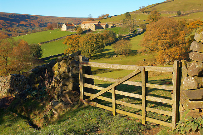 Farndale head with the last farm in the valley, North Yorkshire Moors National Park, England.