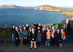 Joe Dolan, President IHF with members of the tourist industry from all over Ireland pictured at Dun Chaoin overlooking Coomeenole Strand and The Blasket Islands in West Kerry during a fact finding tour of Slea Head as part of the National Tourism Forum which took place in Killarney at the weekend. Over 200 delegates from all over Ireland attend the inaugural event which was addressed by national and international speakers.<br /> Photo: Don MacMonagle<br /> <br /> Repro free photo