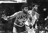 Warriors vs the Phoenix Suns. 1976, Gar Heard and <br />