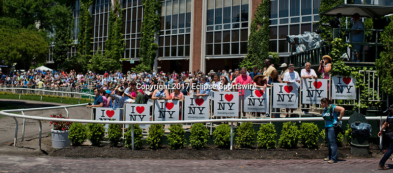 ELMONT, NY - JUNE 10: Fans watch the horse walk the paddock on Belmont Stakes Day at Belmont Park on June 10, 2017 in Elmont, New York (Photo by Scott Serio/Eclipse Sportswire/Getty Images)