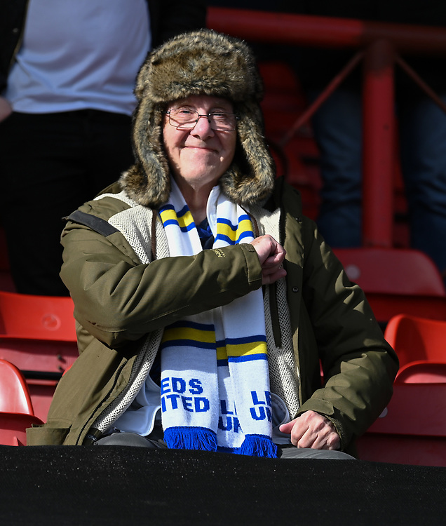 Leeds United fan<br /> <br /> Photographer David Horton/CameraSport<br /> <br /> The EFL Sky Bet Championship - Bristol City v Leeds United - Saturday 9th March 2019 - Ashton Gate Stadium - Bristol<br /> <br /> World Copyright © 2019 CameraSport. All rights reserved. 43 Linden Ave. Countesthorpe. Leicester. England. LE8 5PG - Tel: +44 (0) 116 277 4147 - admin@camerasport.com - www.camerasport.com
