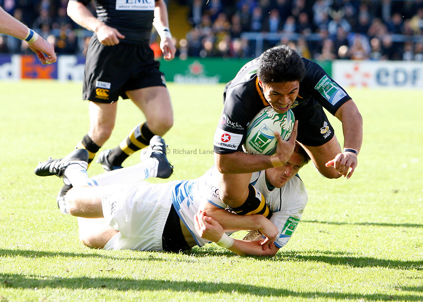 Photo: Richard Lane/Richard Lane Photography. London Wasps v Glasgow Warriors. Heineken Cup. 17/10/2010. Wasps' David Lemi is tackled just short of the line.