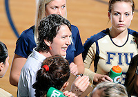 Florida International University women's volleyball Head Coach Danijela Tomic during the game against Tulane University.  FIU won the match 3-2 on September 9, 2011 at Miami, Florida. .