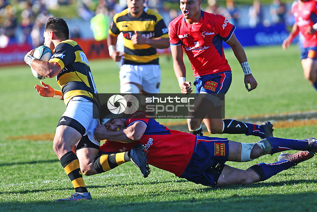 NELSON, NEW ZEALAND - September 3: Mitre 10 Cup Tasman Makos v Taranaki Trafalgar Park on September 3 2016 in Nelson, New Zealand. (Photo by: Evan Barnes Shuttersport Limited)