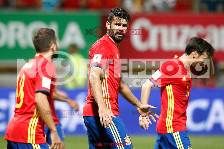 Spain's Jordi Alba, Diego Costa and David Silva during FIFA World Cup 2018 Qualifying Round match. September 5,2016.(ALTERPHOTOS/Acero)