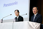 (L to R) Hideaki Kawai, Senior Managing Director and Kazuhiro Tsuga, President of Panasonic Corporation attend a press conference to announce the company's business policy for the coming fiscal year at its head office in downtown Tokyo on March 26, 2015. Panasonic announced it aims to boost its target operating profit from 350 billion yen, in the year ending this March 31, to 430 billion yen in the coming fiscal year. (Photo by Rodrigo Reyes Marin/AFLO)