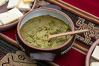 Peru, Urubamba Valley, Quechua Village of Misminay.  Huacatay, a salsa or paste eaten on bread or chips, used in Peruvian cooking.