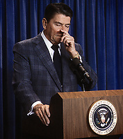 Washington DC., USA, December 27, 1983<br /> President Ronald Reagan in the press room Credit: Mark Reinstein/MediaPunch