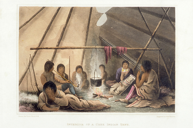 The interior of a Cree Indian tent. Franklin's first expedition 1819-1822.