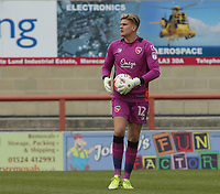 Danijel Nizic (GK) of Morecambe during the Sky Bet League 2 match between Morecambe and Wycombe Wanderers at the Globe Arena, Morecambe, England on 29 April 2017. Photo by Stephen Gaunt / PRiME Media Images.