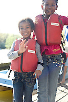 Ahbria Bradley and Brianca Williams by the paddle boats at Pullen Park.
