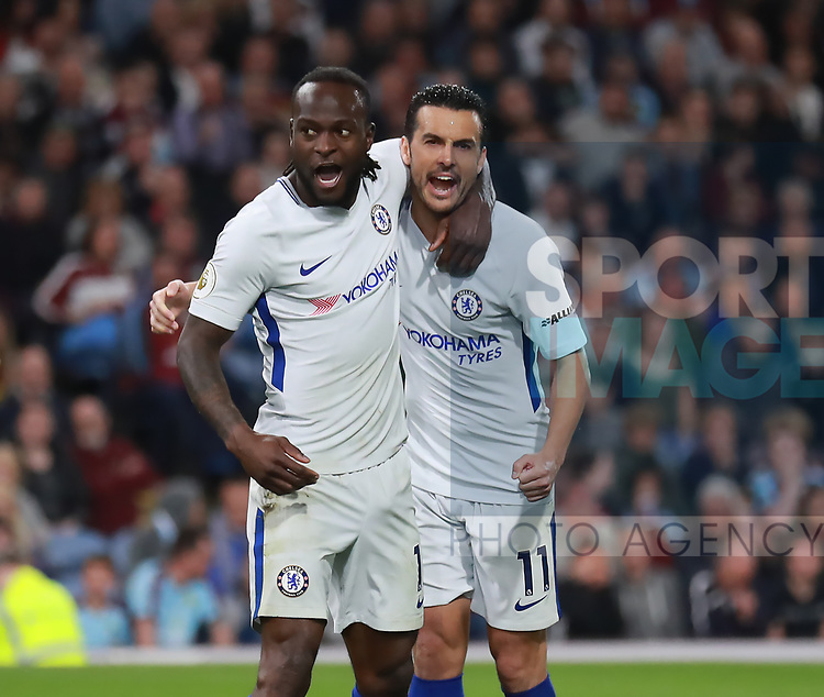 Victor Moses of Chelsea (l) celebrates scoring the second goal during the premier league match at the Turf Moor Stadium, Burnley. Picture date 19th April 2018. Picture credit should read: Simon Bellis/Sportimage