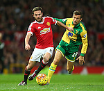 Juan Mata of Manchester United escapes Norwich's Gary O'Neil - Manchester United vs Norwich City - Barclays Premier League - Old Trafford - Manchester - 19/12/2015 Pic Philip Oldham/SportImage